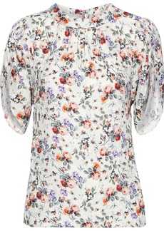 Rebecca Taylor Woman Gathered Floral-print Hammered-silk Blouse Off-white