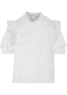 Rebecca Taylor Woman Lace-paneled Ruffled Silk Crepe De Chine Blouse Off-white