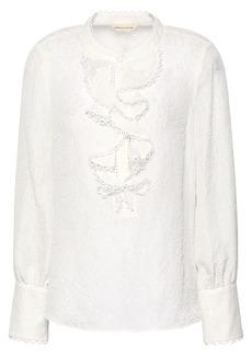 Rebecca Taylor Woman Silk-blend Cloqué Blouse White