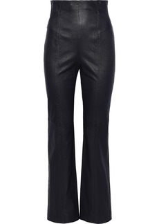 Rebecca Taylor Woman Leather Straight-leg Pants Midnight Blue