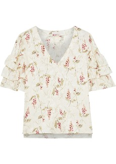 Rebecca Taylor Woman Tiered Floral-print Silk-blend Jacquard Top Ivory