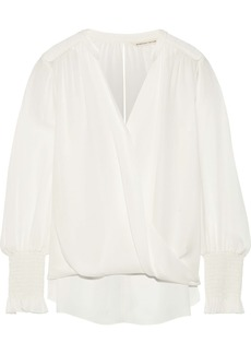 Rebecca Taylor Woman Wrap-effect Silk Crepe De Chine Blouse Off-white