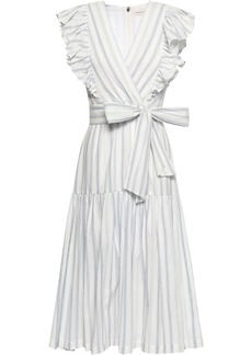Rebecca Taylor Woman Wrap-effect Striped Stretch-cotton Midi Dress White
