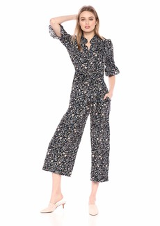 Rebecca Taylor Women's 3/4 Sleeve Print Jumpsuit