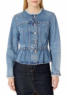 Rebecca Taylor Women's Denim Peplum Jacket Cornflower wash M