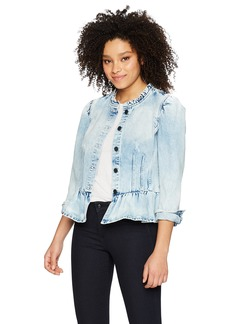 Rebecca Taylor Women's Denim Peplum Jacket Nuage wash