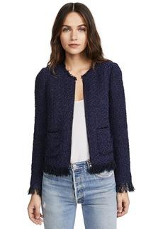 Rebecca Taylor Women's Fringe Tweed Jacket Black/deep Violet
