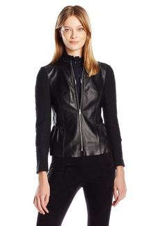 Rebecca Taylor Women's Knit and Leather Jacket