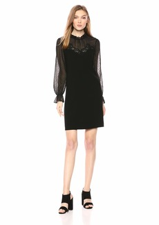 Rebecca Taylor Women's Long Sleeve Crepe Lace Dress