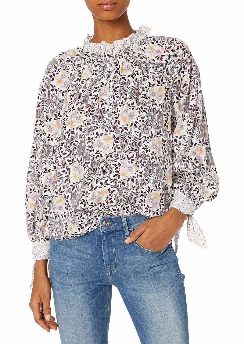 Rebecca Taylor Women's Long Sleeve Floral Silk Blouse with Buttons