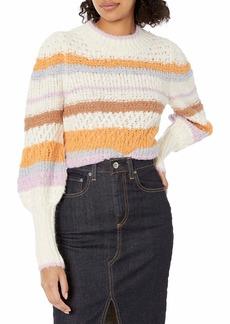 Rebecca Taylor Women's Long Sleeve Fluffy Stripe Pullover Sweater  L