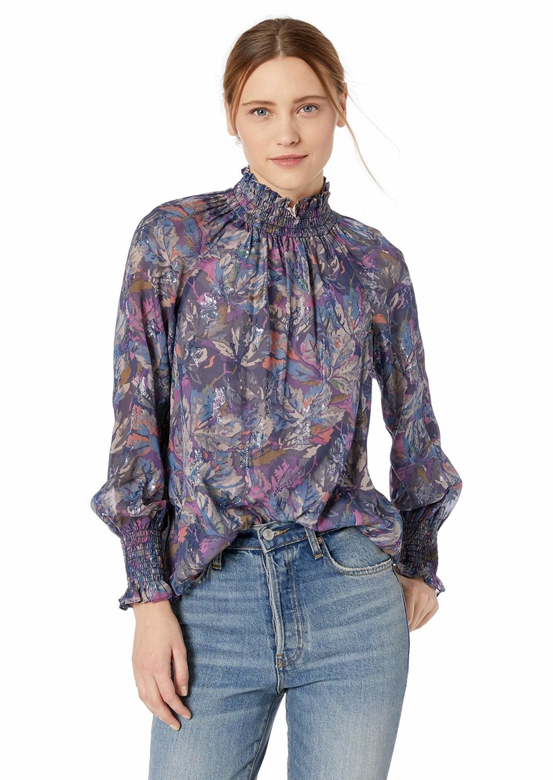 Rebecca Taylor Women's Long Sleeve Mock Neck Silk Top