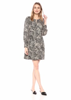 Rebecca Taylor Women's Long Sleeve Silk Print Dress with Ruched Cuff