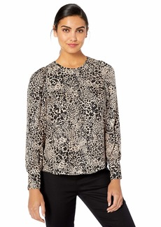 Rebecca Taylor Women's Long Sleeve Silk Print Top with Ruched Cuff