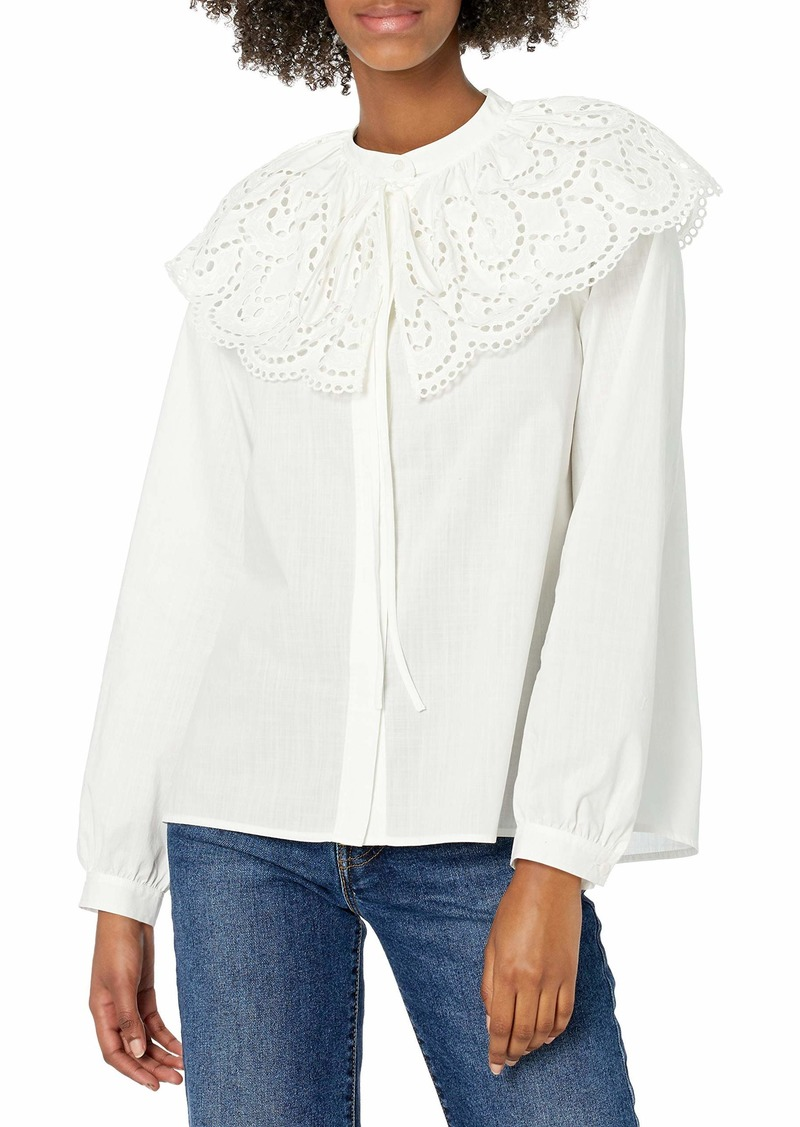 Rebecca Taylor Women's Long Sleeve Valerie Blouse LYRIA White Extra Small