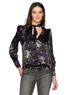 Rebecca Taylor Women's Long Sleeve Violet Flower Burnout Top