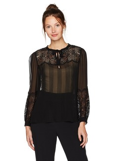 Rebecca Taylor Women's Longsleeve Chiffon Top with Lace