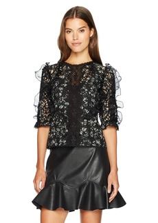 Rebecca Taylor Women's Longsleeve Moonflower Embroidery Top
