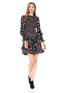 Rebecca Taylor Women's Longsleeve Print Mix Dress