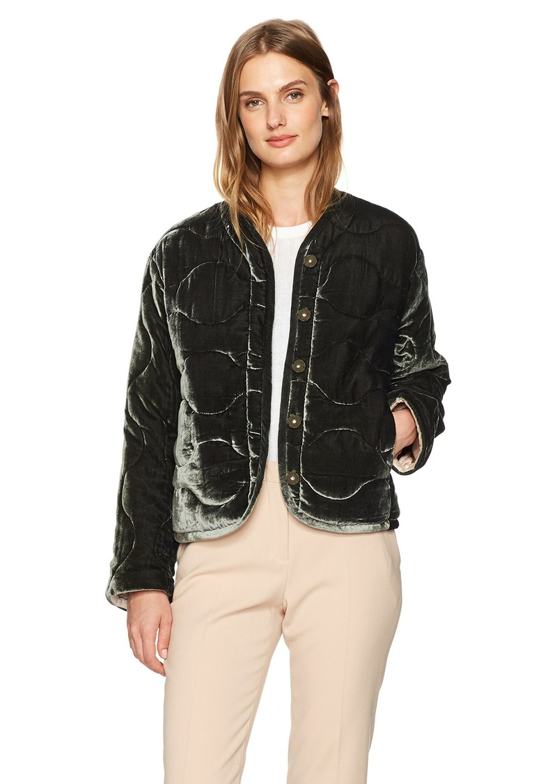 Rebecca Taylor Women's Quilted Velvet Coat  S