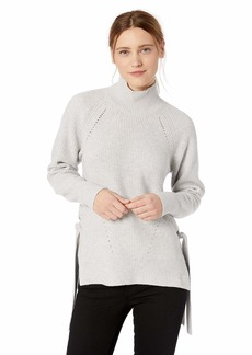 Rebecca Taylor Women's Ribbed Turtleneck Tie Pullover  S