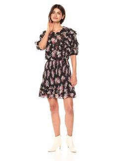 Rebecca Taylor Women's Short Sleeve Bouquet Ruffle Dress  M