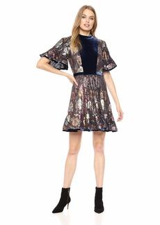 Rebecca Taylor Women's Short Sleeve Clip & Velvet Dress