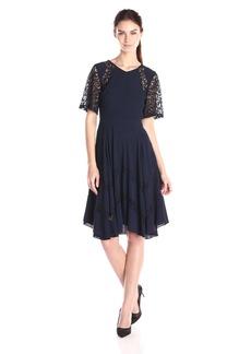 Rebecca Taylor Women's Short Sleeve Crepe Lace Dress
