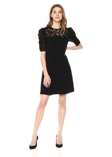 Rebecca Taylor Women's Short Sleeve Crepe Lace Dress