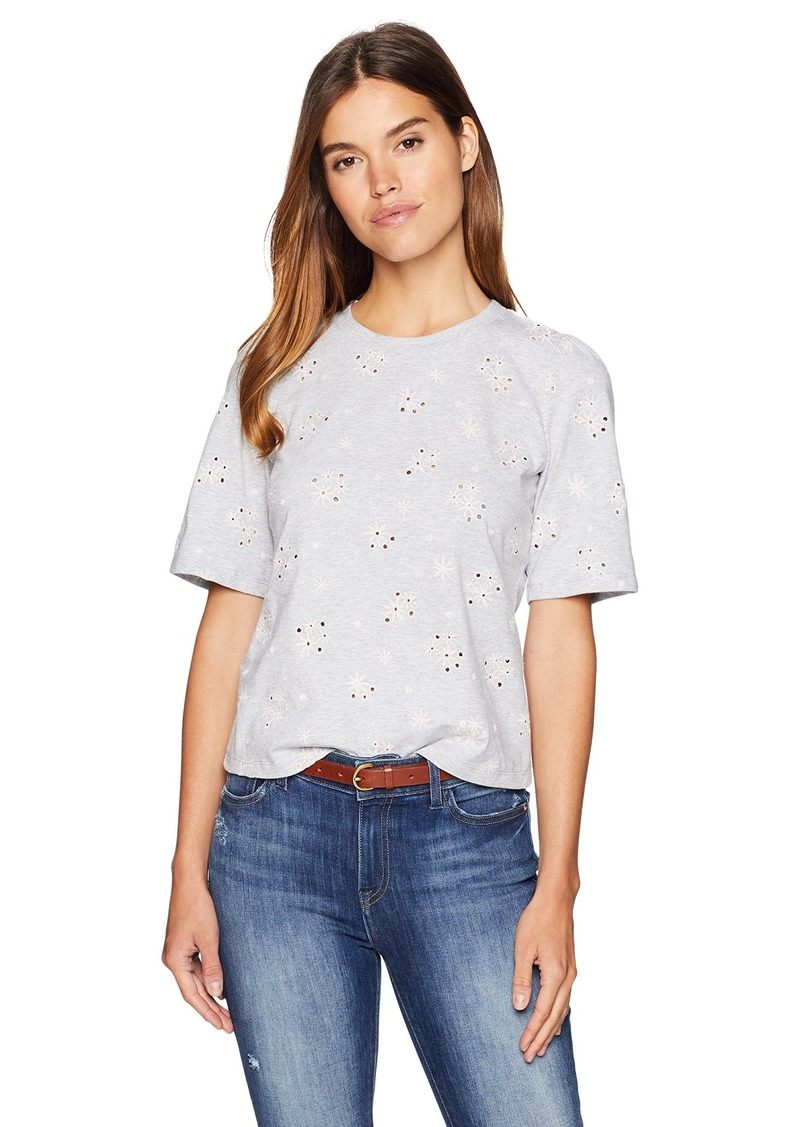 Rebecca Taylor Women's Short Sleeve Floral Embroidered tee Grey mélange S