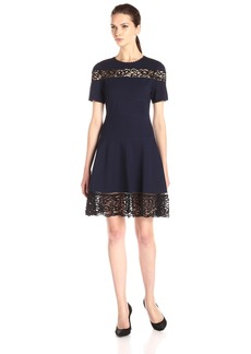 Rebecca Taylor Women's Short-Sleeve Ponte Lace Dress