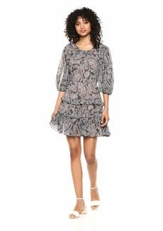 Rebecca Taylor Women's Short Sleeve Print Dress with Tiered Bottom BLEU Combo XS