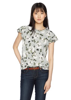 Rebecca Taylor Women's Short Sleeve Printed Jersey tee Grey mélange M