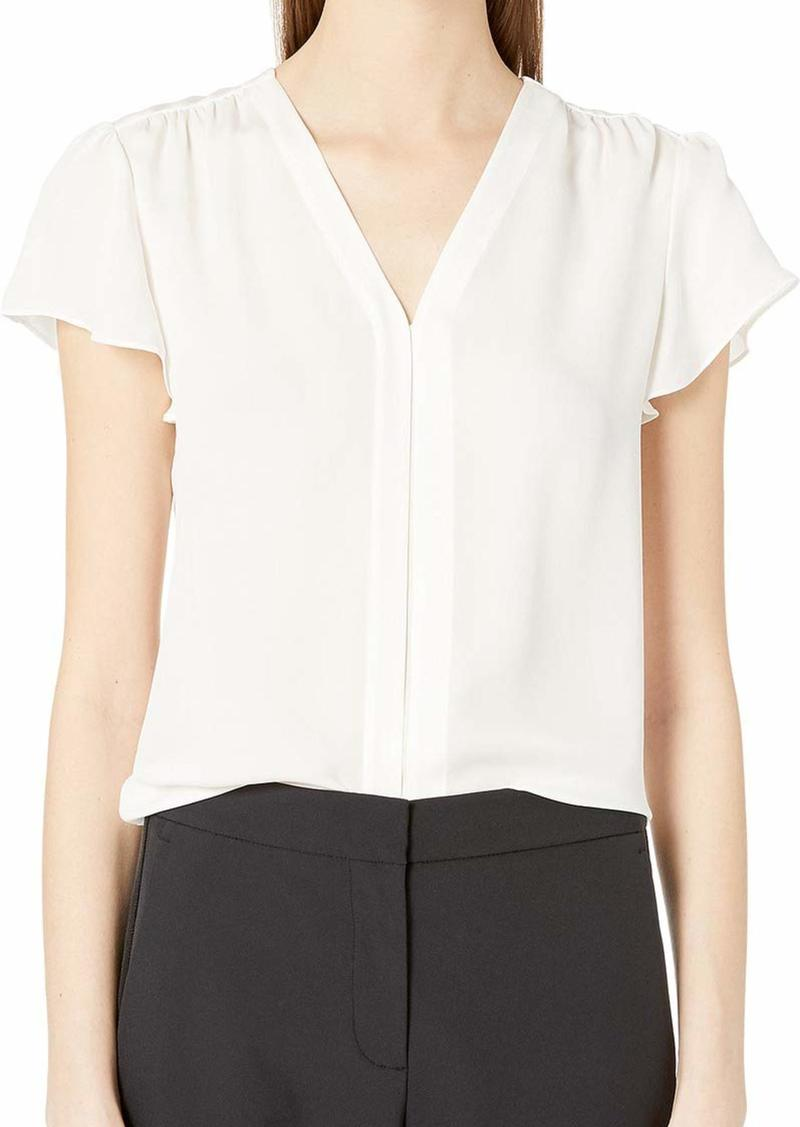 Rebecca Taylor Women's Short Sleeve Silk Blouse with Pleat Front