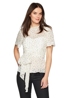 Rebecca Taylor Women's Short Sleeve Star Tie Top