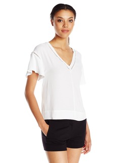 Rebecca Taylor Women's Short-Sleeve V-Neck Crepe Top