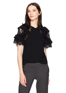 Rebecca Taylor Women's Shortsleeve Crepe and Lace Top