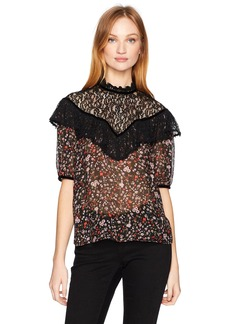 Rebecca Taylor Women's Shortsleeve Lyra Lace Top