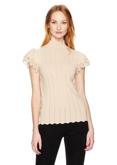 Rebecca Taylor Women's Shortsleeve Pointelle Lace Pullover  M