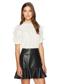 Rebecca Taylor Women's Shortsleeve Silk & Lace Top
