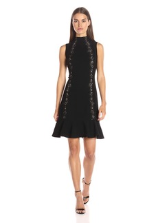 Rebecca Taylor Women's Sleeveless Crepe Lace Dress