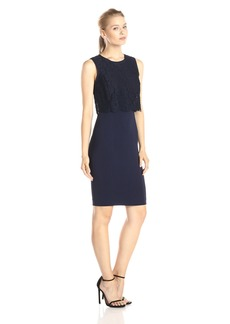 Rebecca Taylor Women's Sleeveless Refined Suiting with Lace Dress
