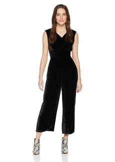 Rebecca Taylor Women's Sleeveless Ruched Velvet Jumpsuit