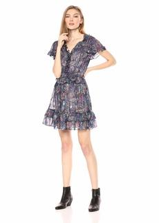Rebecca Taylor Women's Sleeveless Ruffle Print Dress  XL
