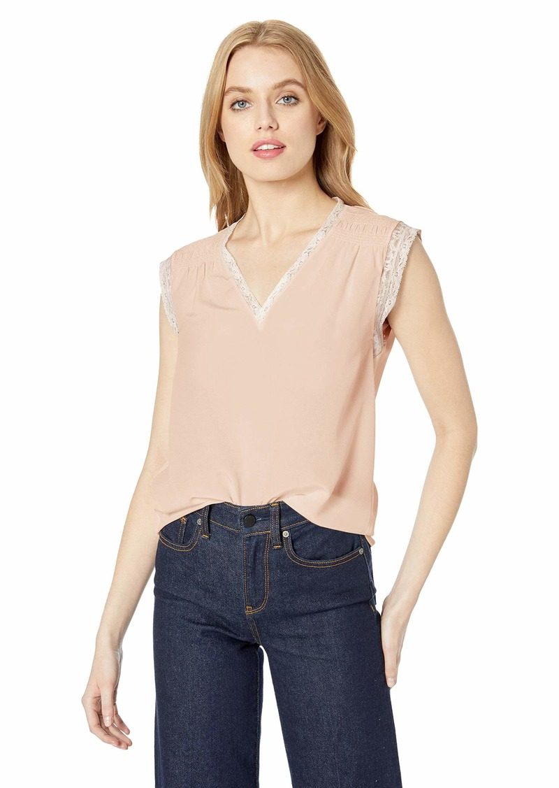 Rebecca Taylor Women's Sleeveless Silk Top with Lace