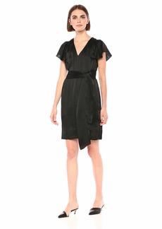 Rebecca Taylor Women's Sleeveless Silk V-Neck Dress with Tie Waist