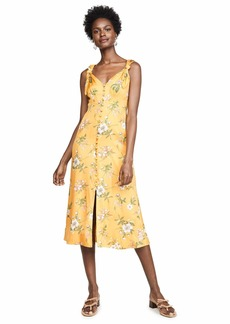Rebecca Taylor Women's Sleeveless Tie Tank Midi Dress with Buttons