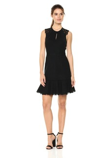 Rebecca Taylor Women's Sleeveless Tweed and Lace Dress