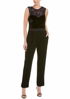 Rebecca Taylor Women's Sleeveless Velvet and Organza Jumpsuit deep Violet/Black