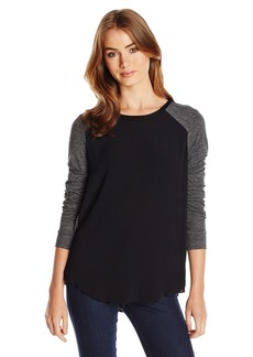 Rebecca Taylor Women's Stacy Color Block Crepe and Jersey Top